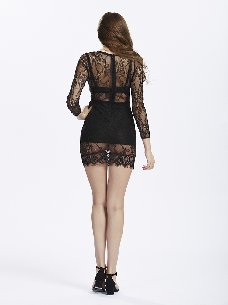 Women Black Catwalk Lace Dress Perspective Patchwork top Sheath