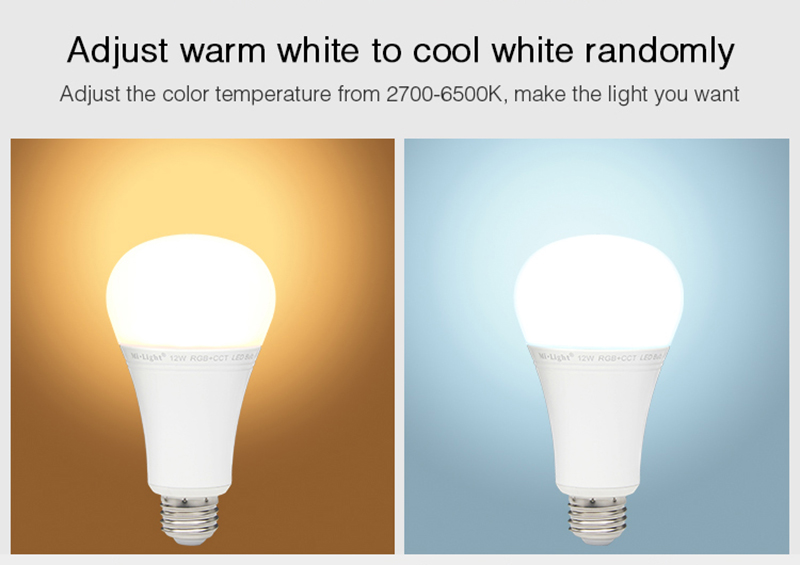 E27 12W Dimmable 2.4G RGB+CCT LED Smart Light Bulb Works With Milight Remote APP AC85-265V