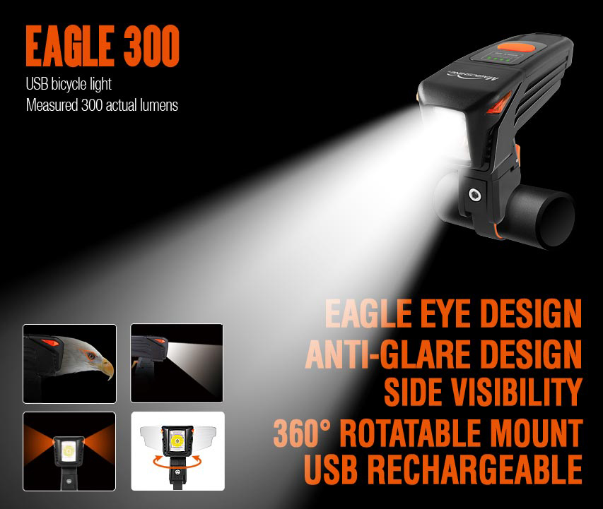 Magicshine Eagle 300 300LM USB Rechargeable Bike Light Xp-G2 LED Bicycle Headlight Anti Glare Light