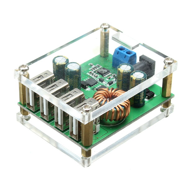 3Pcs DC-DC Step Down Module Large Power Regulator Converter With 4 USB Interface 7V-60V Input 5V/5A Output Automatic Fast Charge Identification