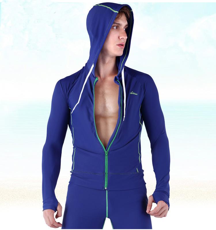 SBART Men Korean Diving Suit Split Long Sleeve Zip Sun Swimsuit Clothing Jellyfish Swimwear