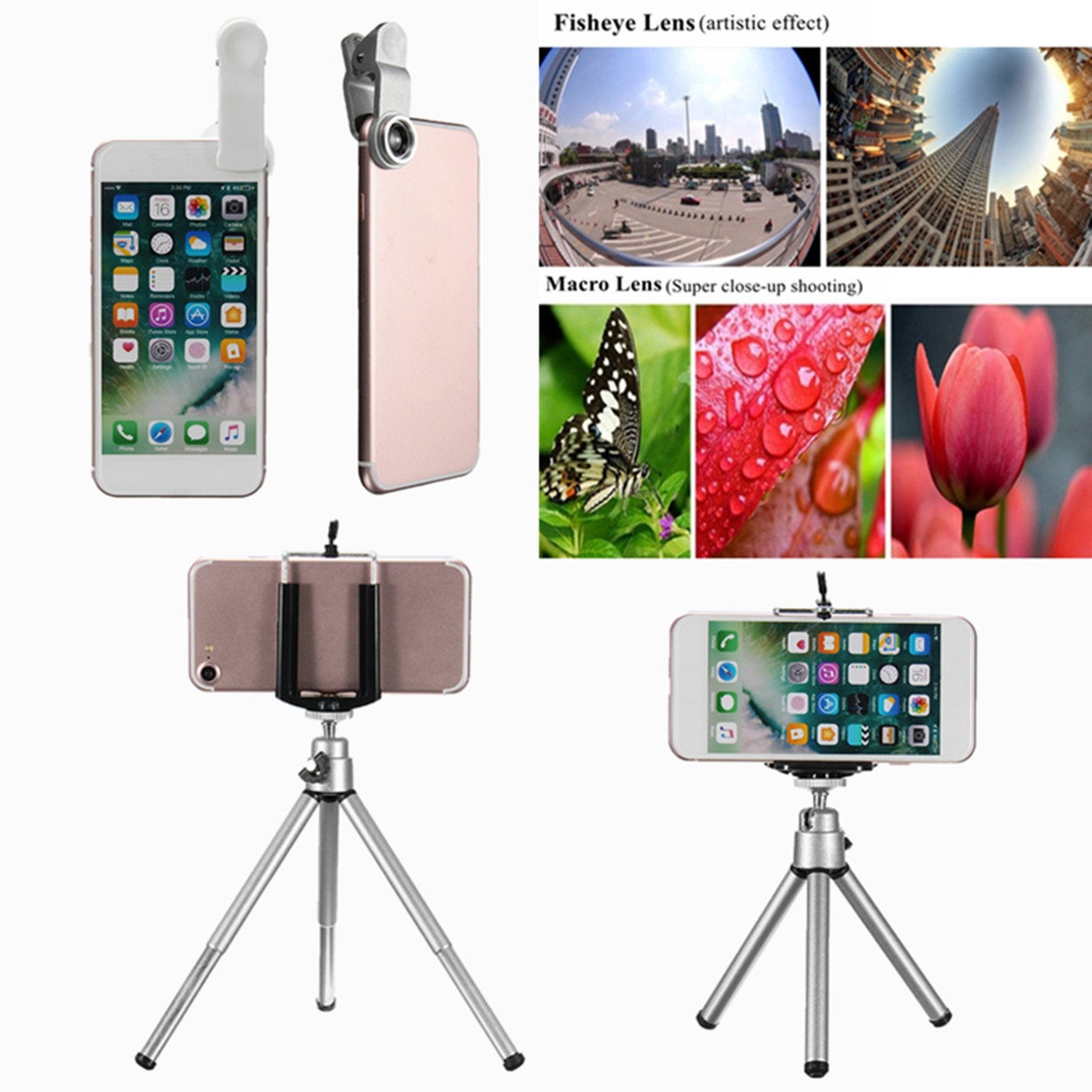 All in 1 Accessories Phone Camera Lens Top Travel Kit For Iphone Samsung for HTC Xiaomi Huawei