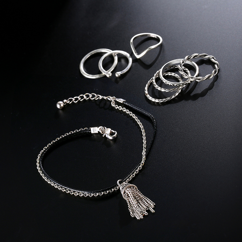 9 Pcs of Gold Silver Plated Rings Women Tassels Bracelets Jewelry Set