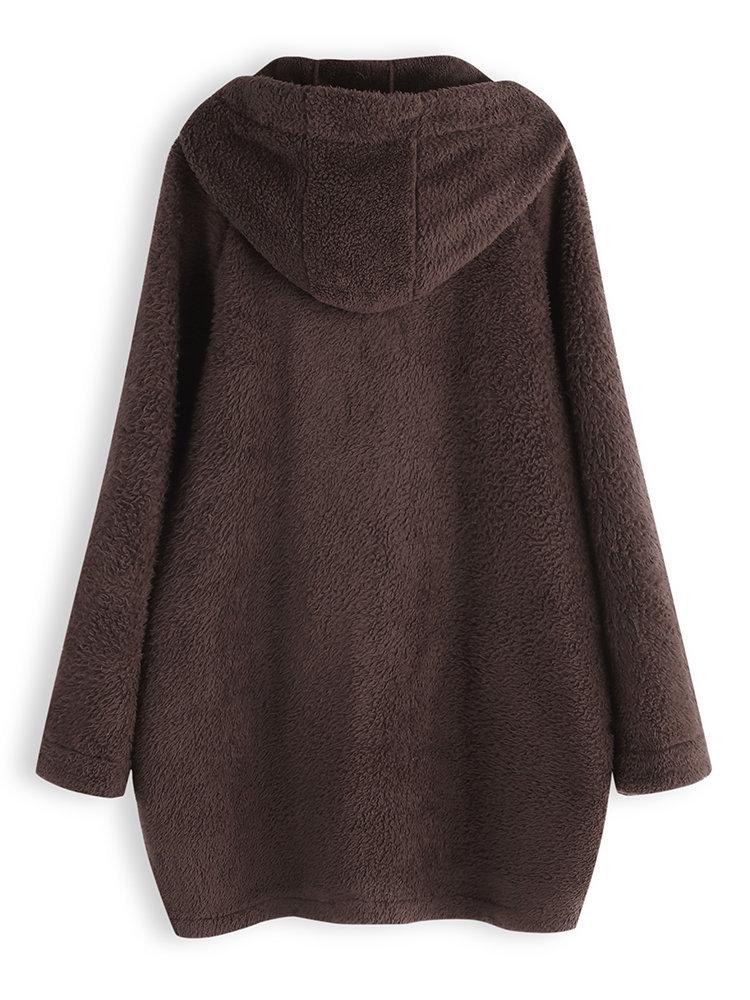 Women Casual Button Fleece Thick Long Sleeve Irregular Coats