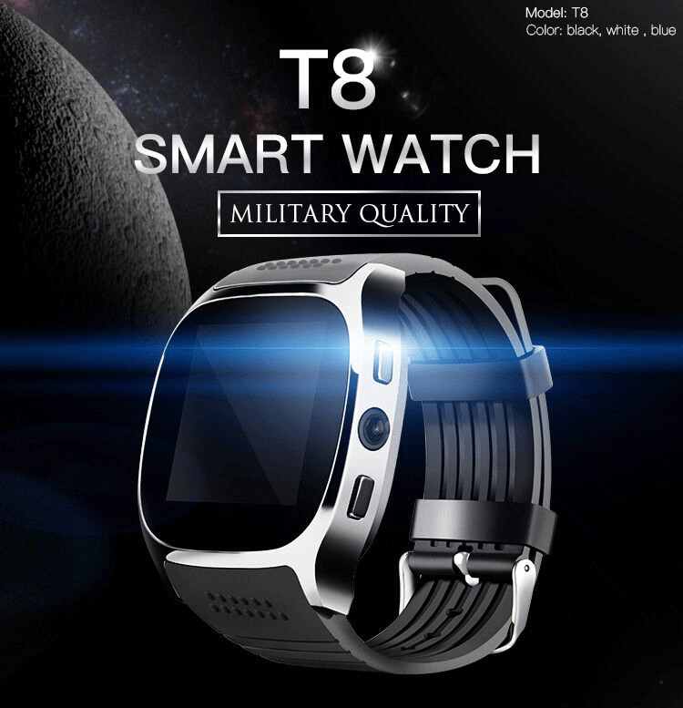Bakeey T8 1.54inch MTK6261D Bluetooth Camera GSM TF Card Smart Watch Phone For IOS Android
