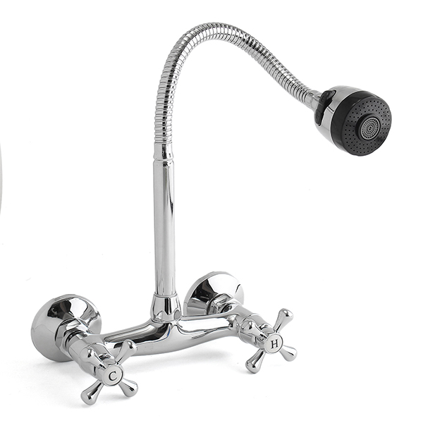 Bathroom Kitchen Faucet Hot Cold Mixed Taps Stretchable Shower Spray type Wall Faucet