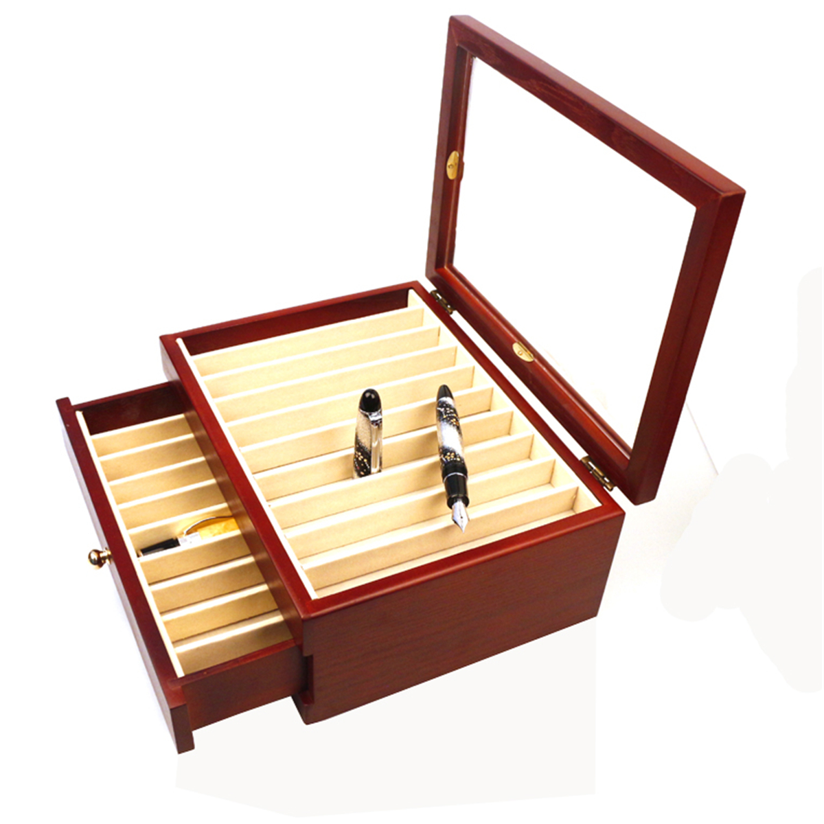 20 Pieces Fountain Pens Holder Wooden Pen Display Case With Antique Wind Red Color Container