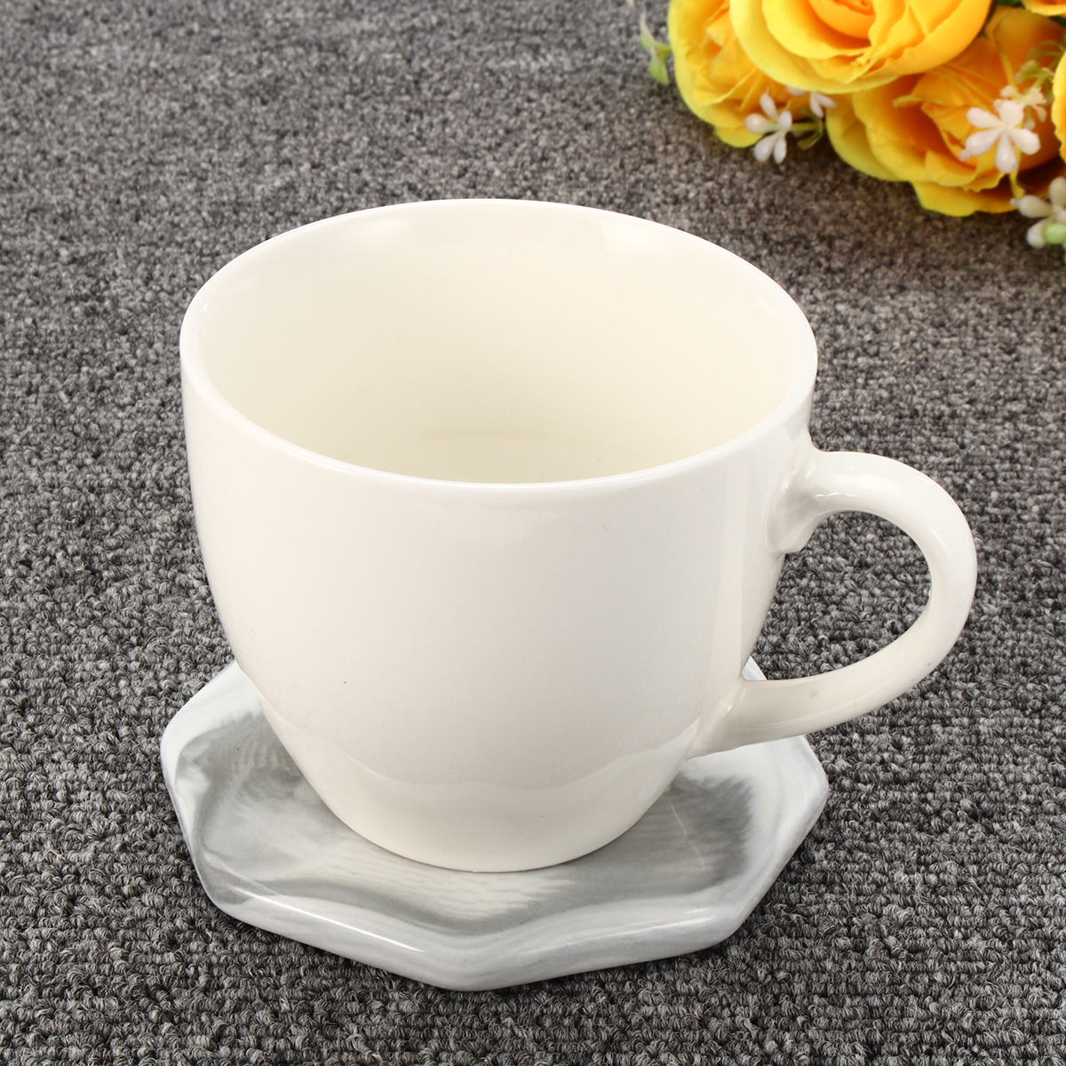 3 Pattern Set Marble Anti-Slip Ceramic Coaster Coffee Cup Mat Table Pads Decor