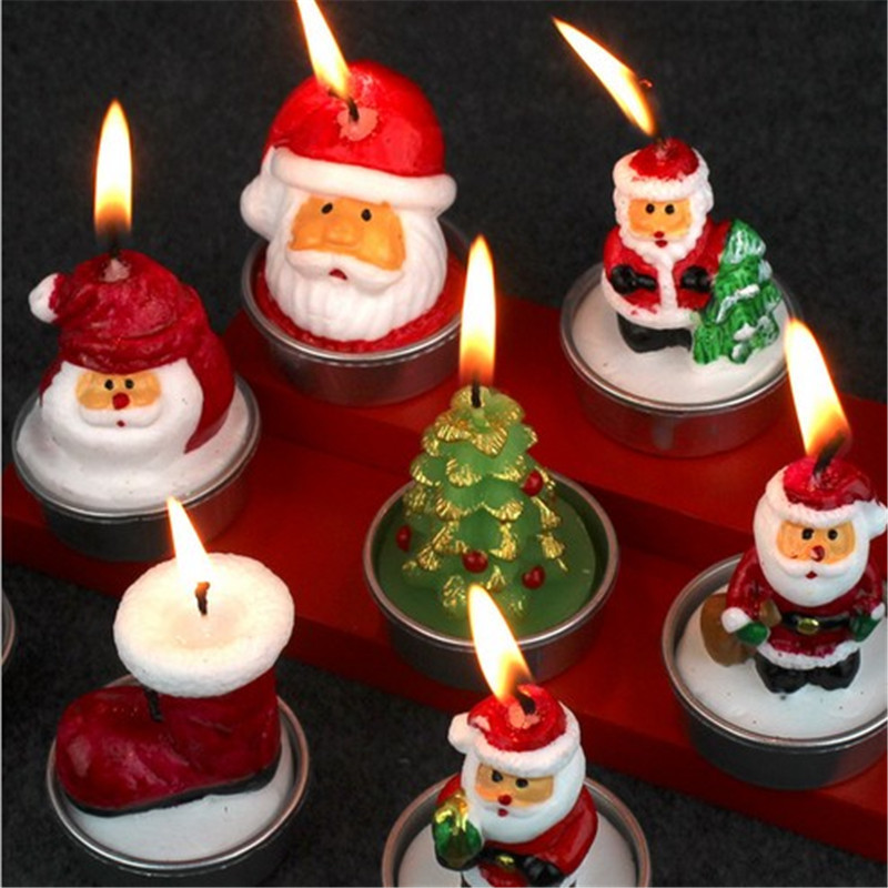 Christmas 2017 3pcs Candle Santa Claus Snowman Pine Nuts Candle Party Gifts Decoration Candles Lamp