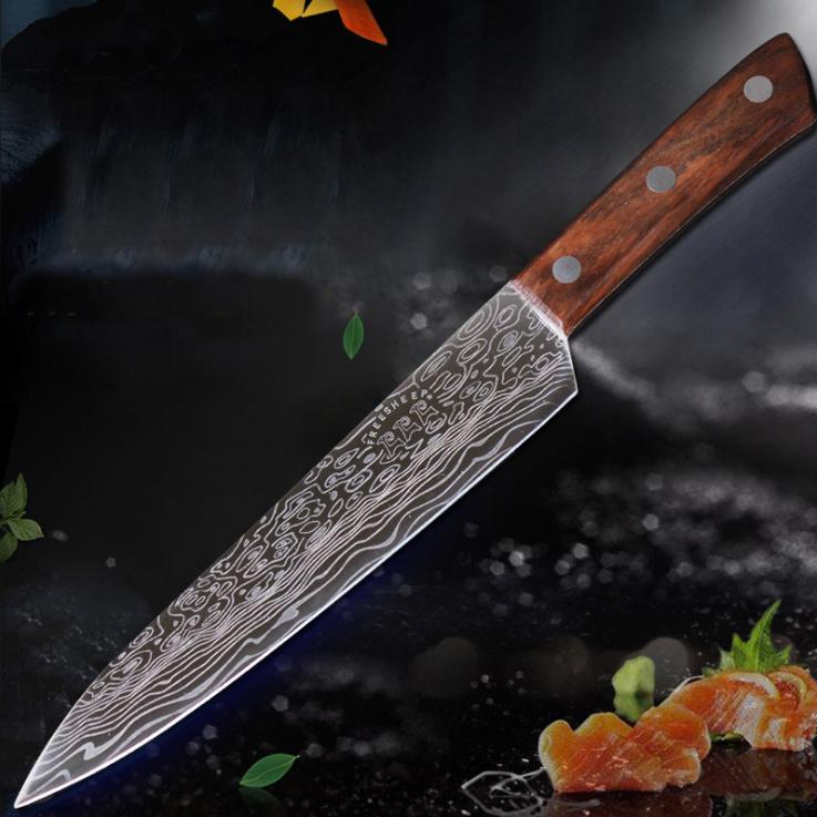 Image of 9&nbspZoll&nbspNachahmung&nbspDamaskus&nbspHigh&nbspChrome Edelstahl Messer Große Wellenmuster Farbe Holzgriff