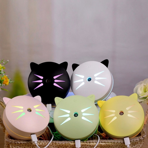 Novelty Cat Mini Air Humidifier Oil Essential Aroma Diffuser Mist Maker Fogger USB Night Light