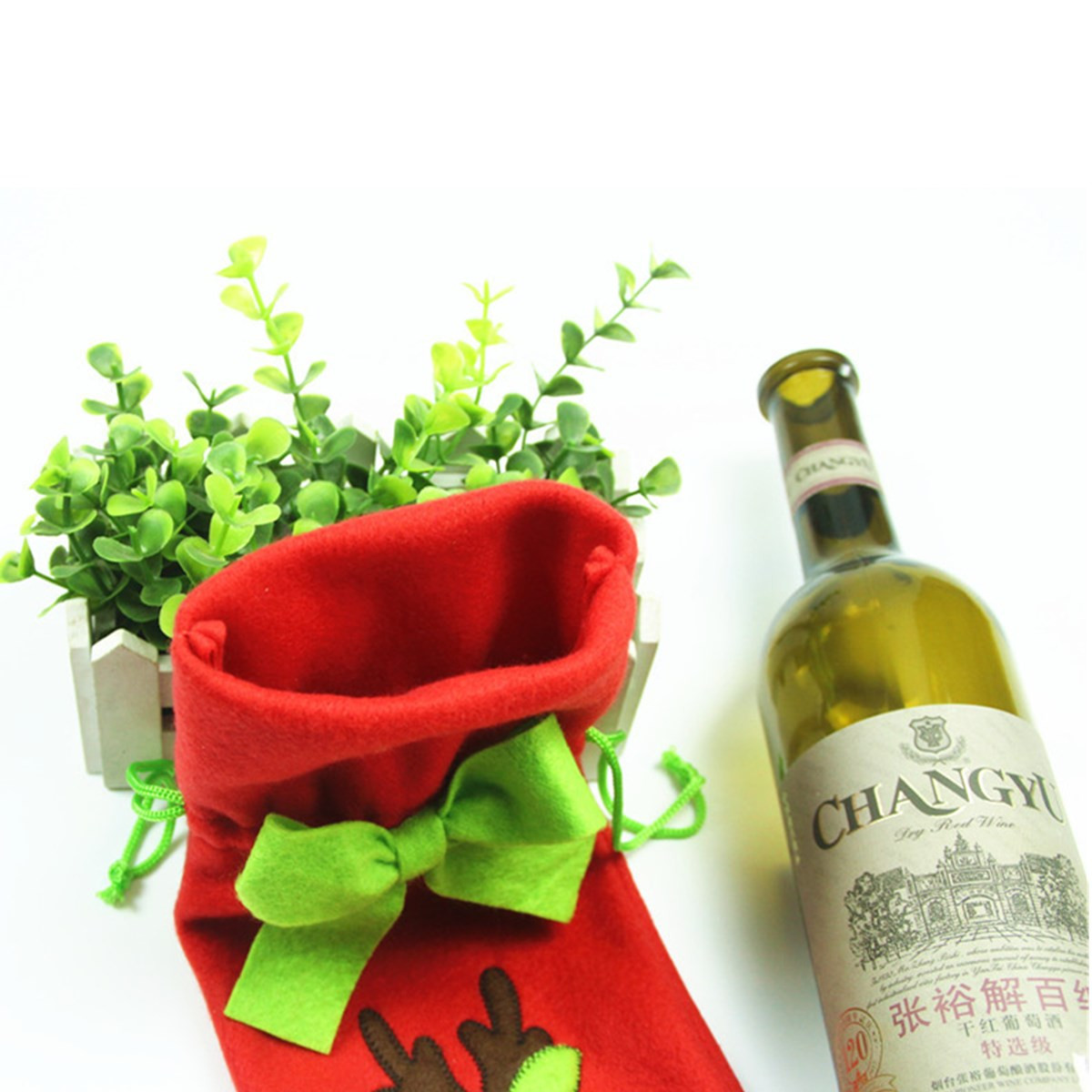 Christmas Decoration Red Santa Tree Elk Wine Bottle Cover Bags Dinner Party Gift