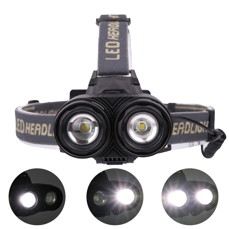 XANES 4105 1200LM 2*T6 Mechanical Zoom 4 Modes Camping Bicycle Headlamp 2*18650mAh Battery USB Rechargeable