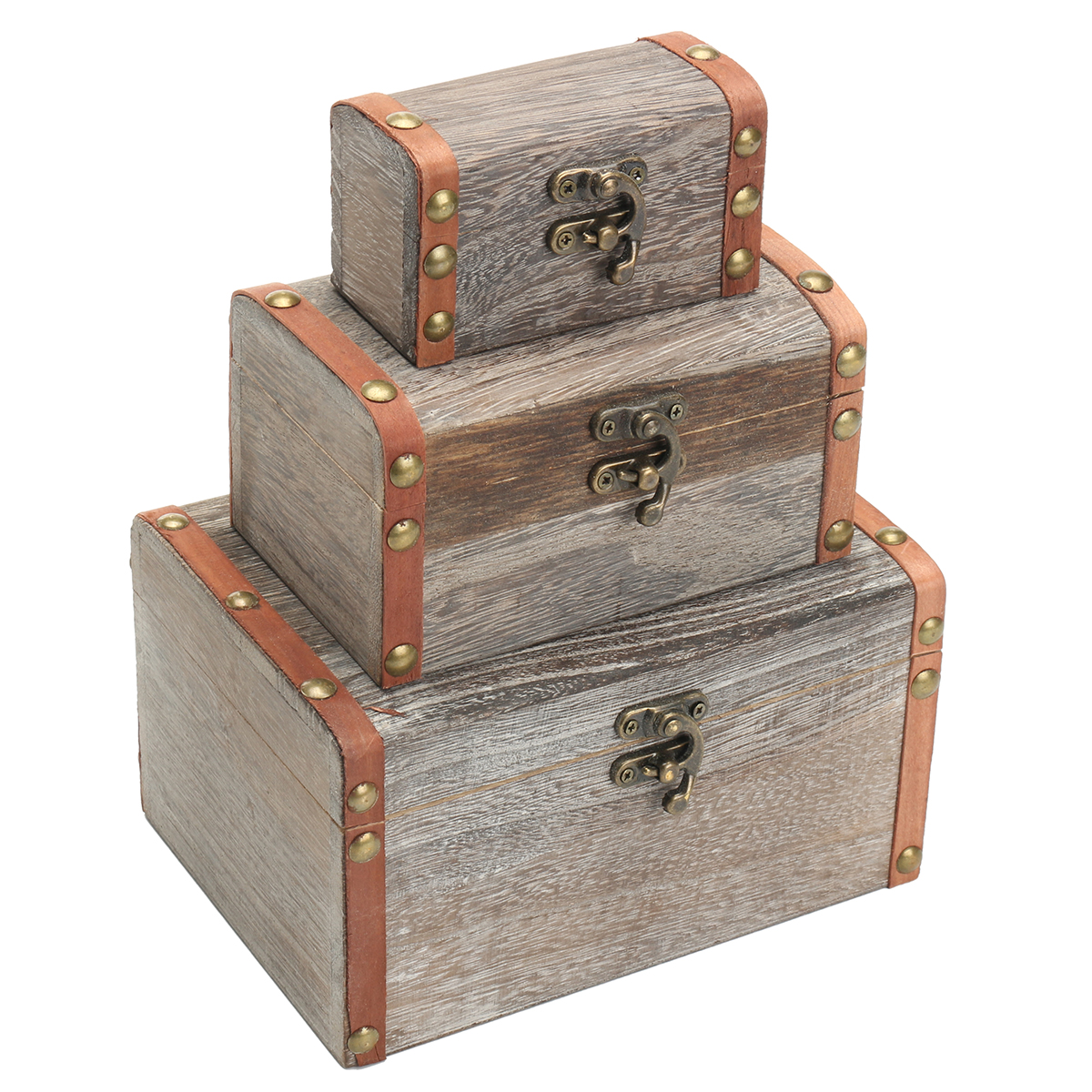 Treasure Chest Retro Wood Box Holder Earring Jewelry Holder Storage Case Trunk
