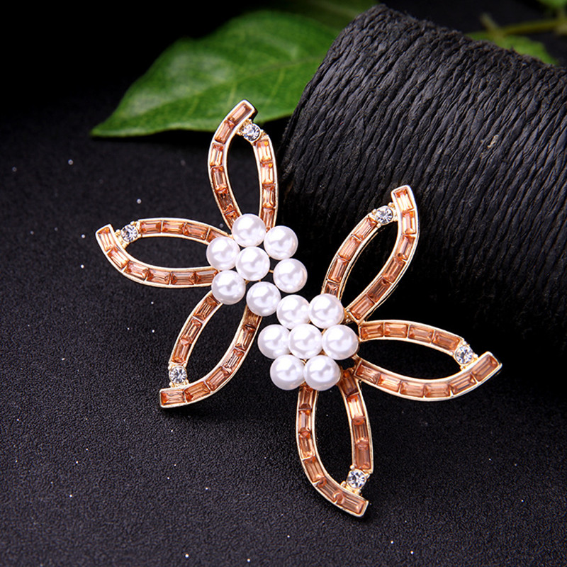 Sweet Crystal Flower Pearl Earring Party Jewelry for Women
