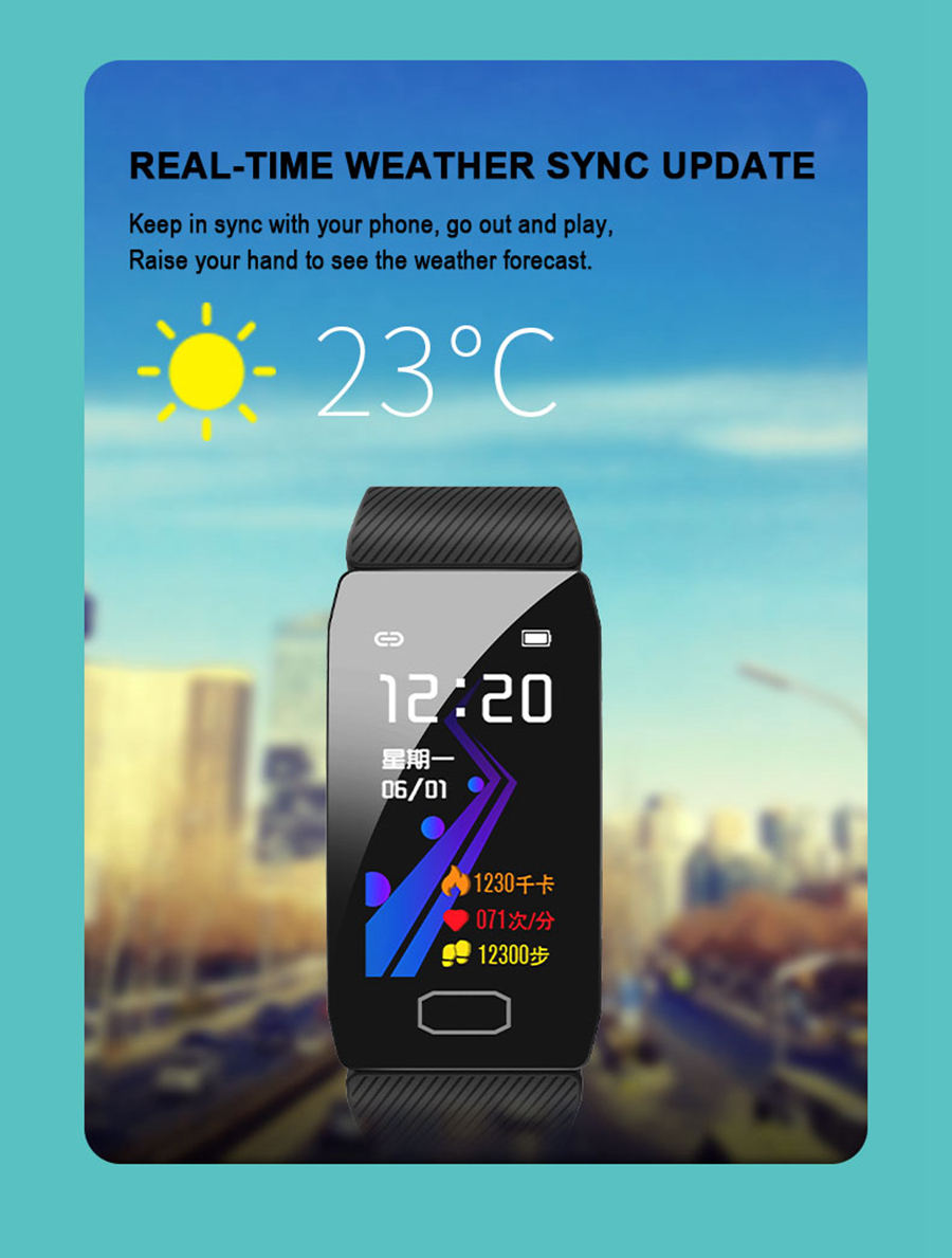 Bakeey C16 IPS Color Screen New UI Blood Pressure O2 5 Sports Mode Remote Camera Smart Watch Band