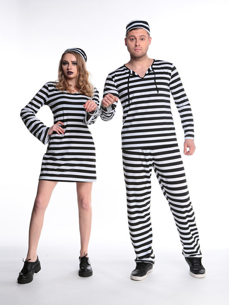 Women Black And White Striped Prison Uniform With Hat For Halloween Cosplay Party