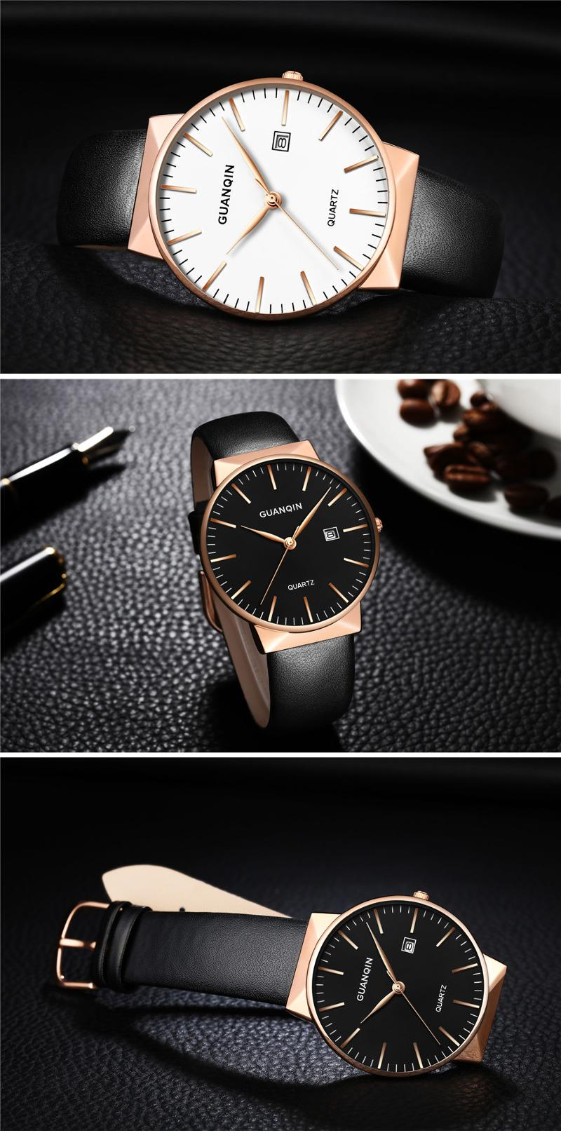 GUANQIN GS19058 Luxury Men Quartz Watch Fashion Leather Strap Wrist Watch