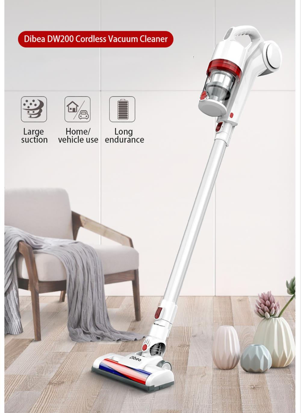 Dibea DW200 Cordless Vacuum Cleaner 10000Pa Strong Suction With Wall Hanging Rack