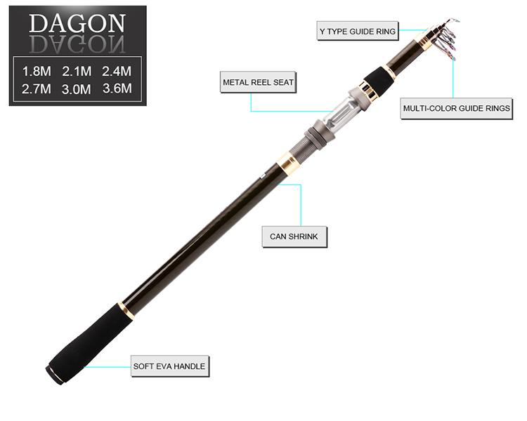 SeaKnight DAGON Carbon 1.8M 2.1M 2.4M 2.7M 3M 3.6M Telescopic Fishing Rod Travel Superhard Pole
