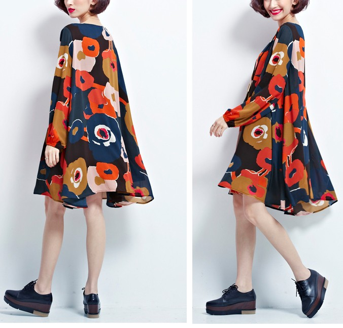 Women Chiffon Print Loose Tops Mini Dress