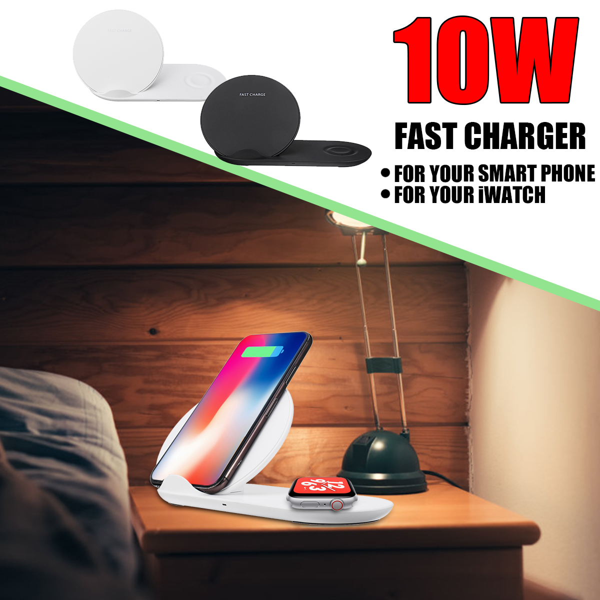 2 In 1 Qi Wireless Charger Phone Charger Watch Charger For iPhone/Samsung/Apple Watch Series