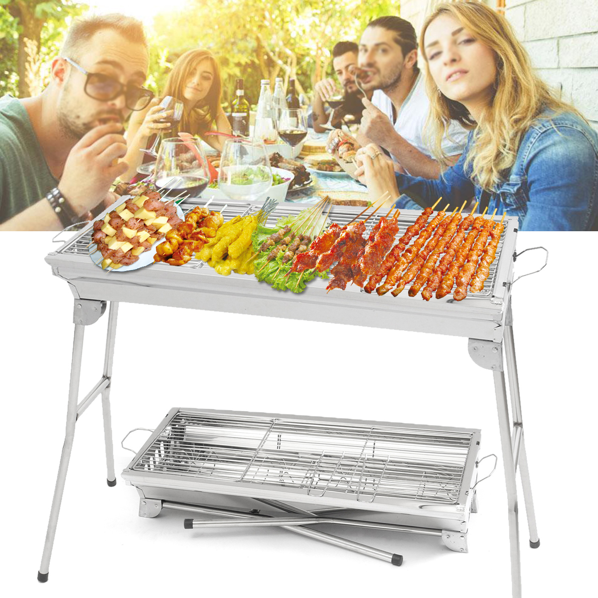 IPRee® Portable Folding Charcoal BBQ Grill Stainless Steel Picnic Barbecue Stove