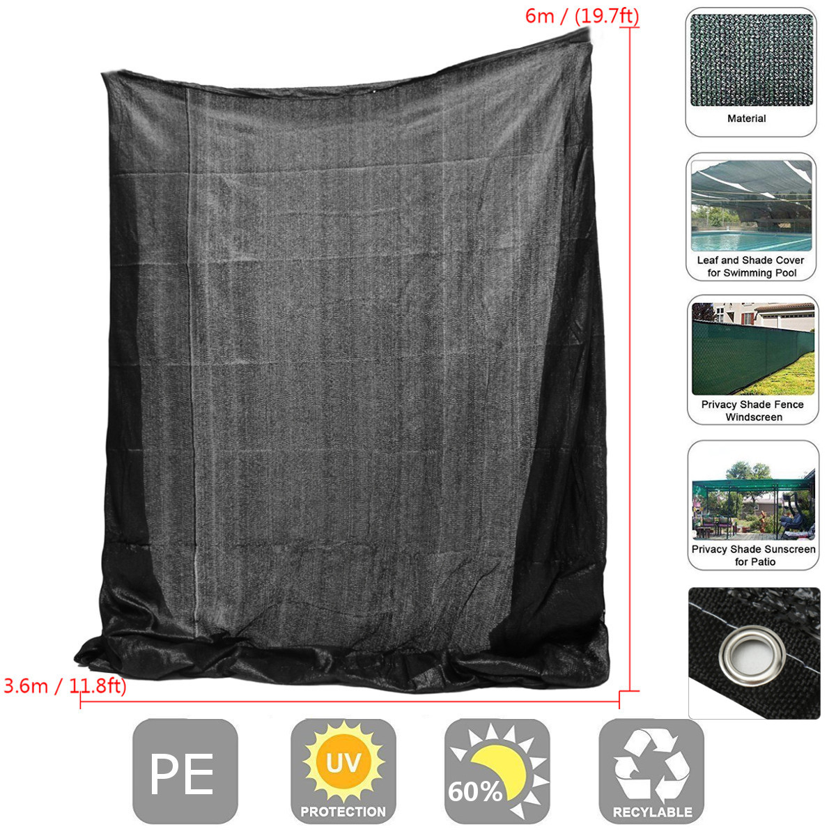 11.8x19.7ft Polyethylene Sun Block Shade Cloth for Plant Cover Greenhouse Barn or Kennel