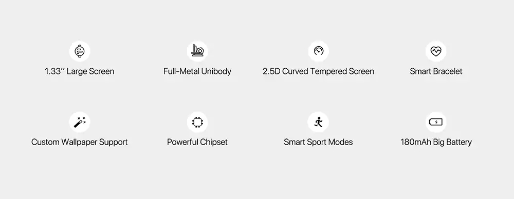 UMIDIGI Uwatch 1.33inch Full-metal Unibody HR Sleep Monitor Multi-sport Custom Wallpaper Smart Watch