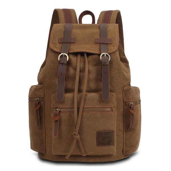 bd4a6d6fea72 KAUKKO Canvas Genuine Leather Outdoor Big Capacity Shoulders Bag Backpack