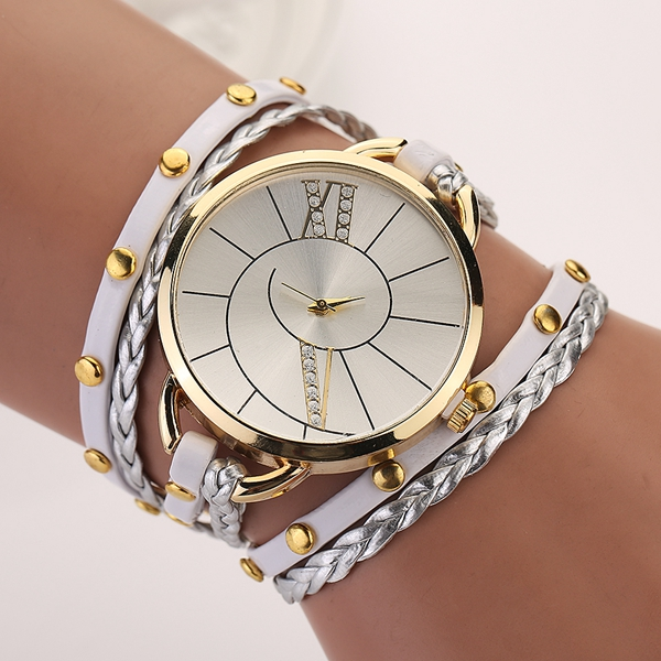 Fashion Big Dial Women Ladies Bracelet Watch With Weaving Hand Rope Watch Starp