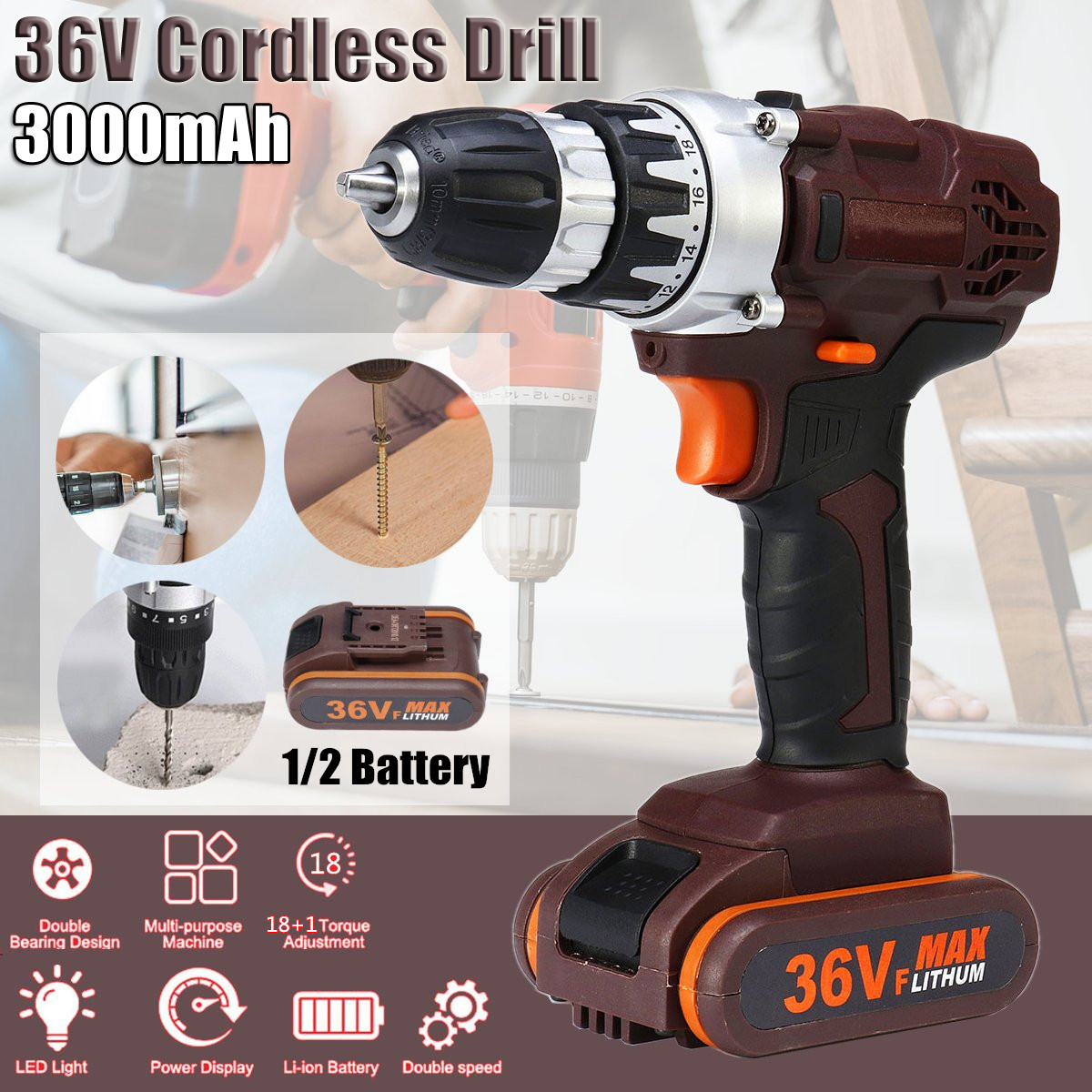 36V Rechargable Power Drills Cordless Lithium Electric Drill 18+1 Torque Stage