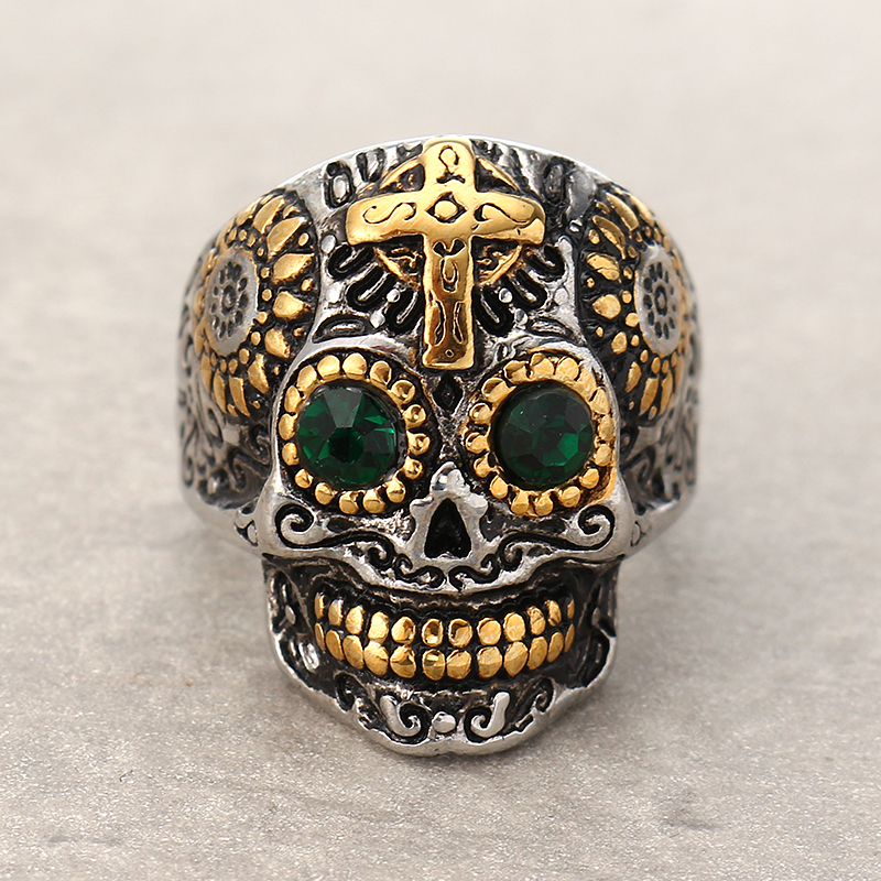 Men's Stainless Steel Punk Cross Ring Gothic Skull Ring Zircon Men Jewelry
