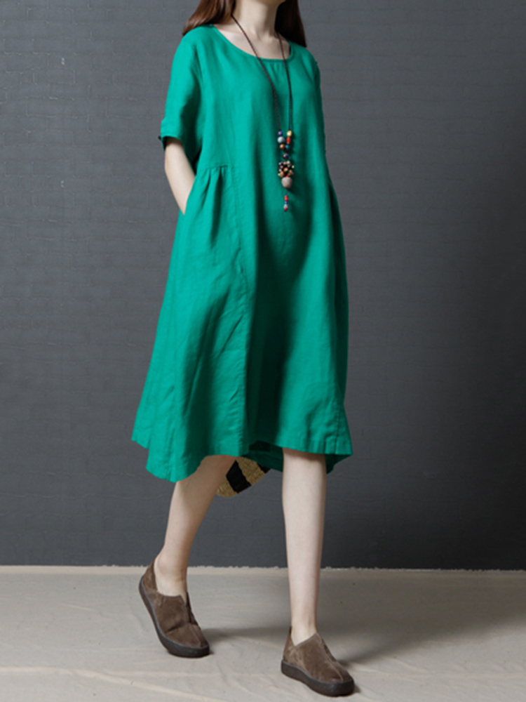 Women Vintage Pure Color Loose Dress