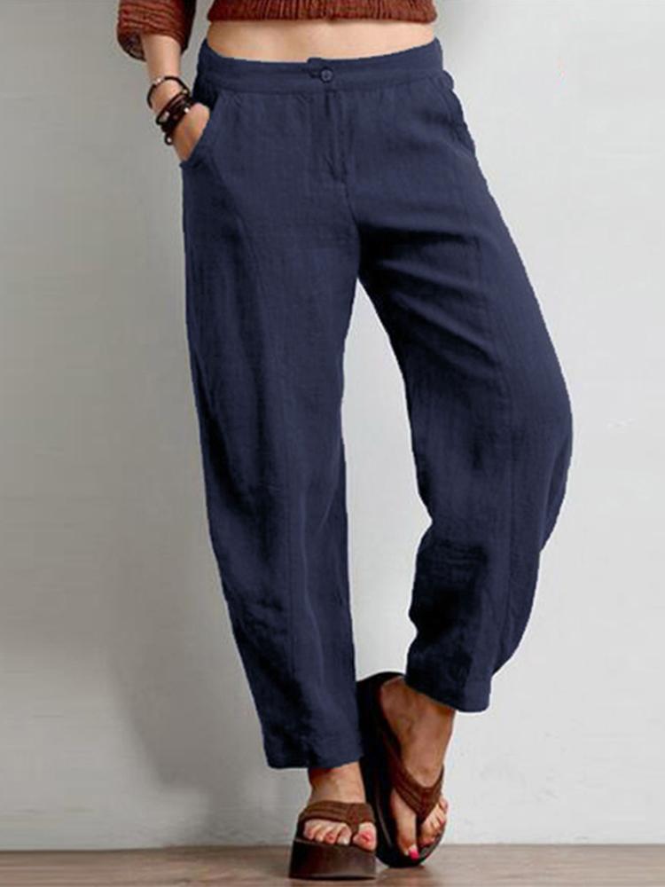 Women Cotton Pure Color Elastic Waist Side Pockets Pants