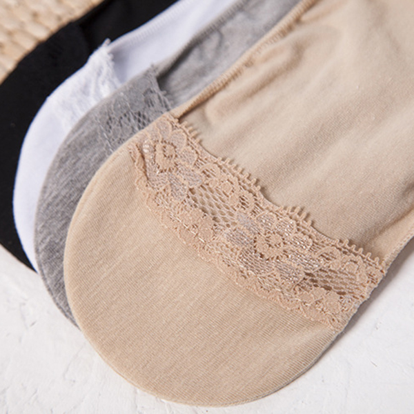 Women Summer Lace Cotton Invisible Boat Socks Casual Low Cut Breathable Ankle Socks
