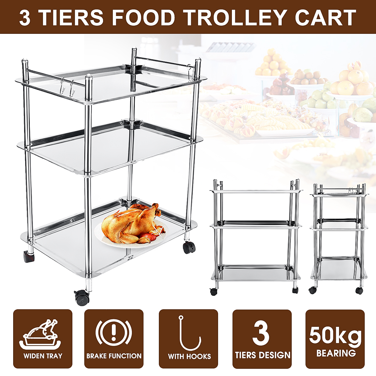 Stainless Steel Food Trolley Cart 3 Tiers Hotel Restaurant Serving Catering Train Cafe Trolley Tool