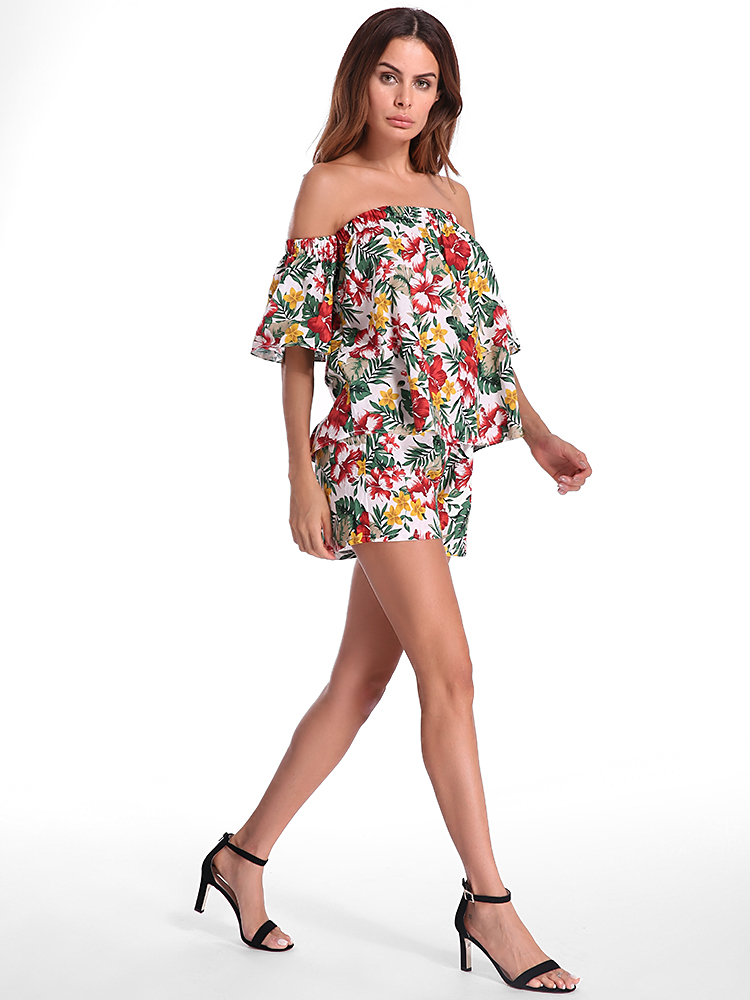 Women Sexy Floral Printed Off the Shoulder Jumpsuits