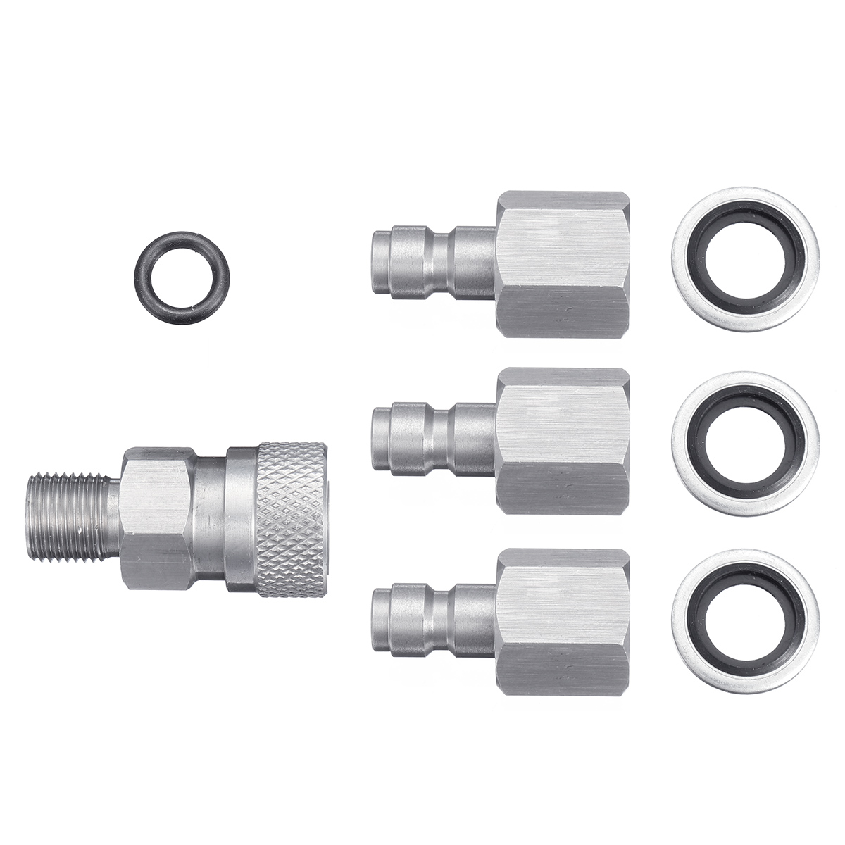 Stainless 1/8 BSPP Quick Release Hexagonal Coupler with 3 plugs for PCP Air Filling