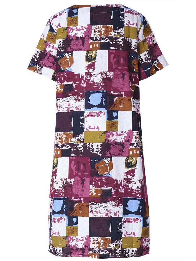 Loose Women Summer Graffiti Grid Printed Cotton Linen Dress