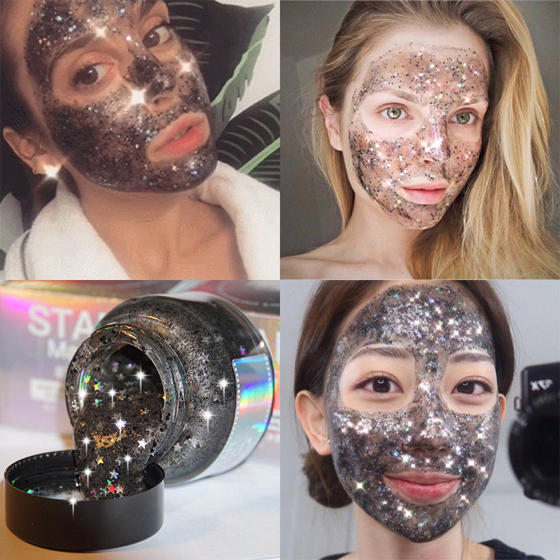 Star Mask Glitter Gold Peel off Black Face Mask