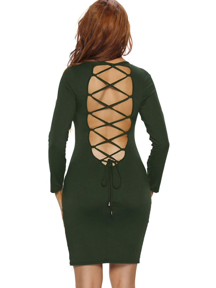 Sexy Women Backless Lace Up Long Sleeve Bodycon Dresses
