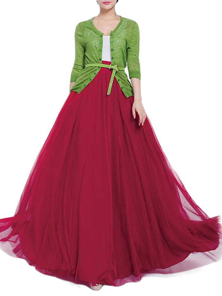 Solid Color Mesh Tulle Pleated Maxi Skirt