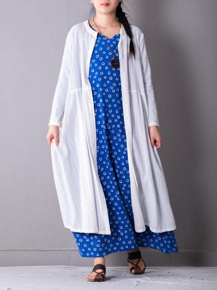 Vintage Long Sleeve V-neck Loose Floral Maxi Dress