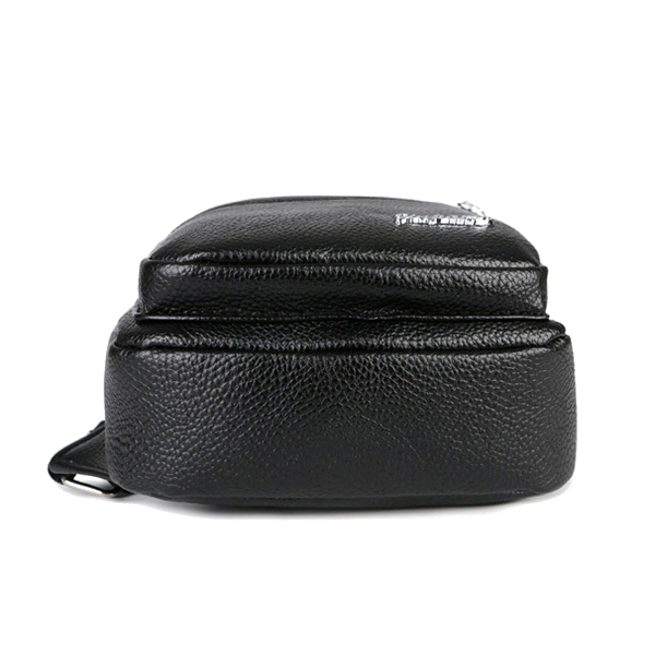 Men Vintage Chest Bag Solid PU Leather Crossbody Bag Casual