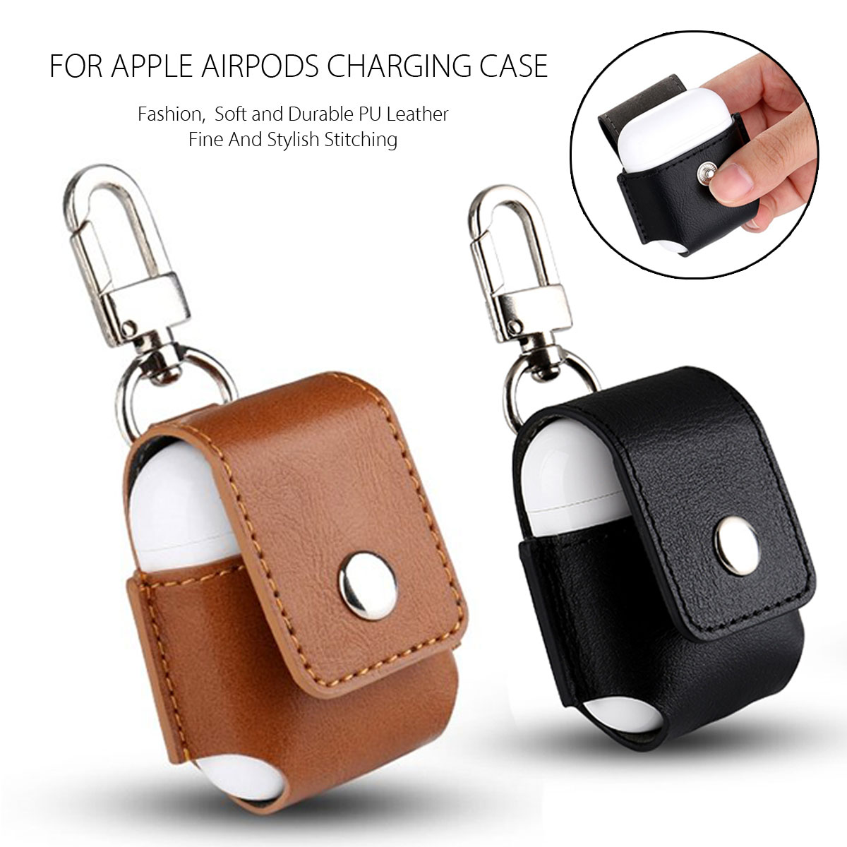 Genuine Leather Shockproof Protective Case With Buckle For Apple AirPods