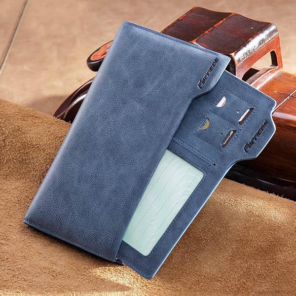 Men's Genuine Leather Slim Bifold Long Wallet Credit Card Holder with 15 Card Slots