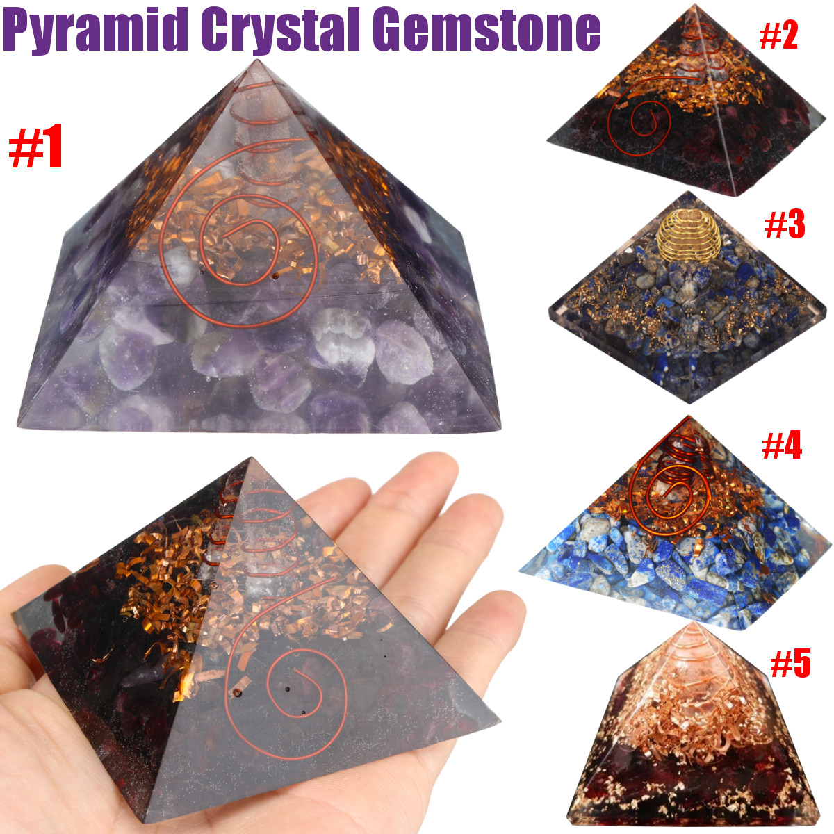 New Pyramid Crystal Gemstone Meditation Yoga Energy Healing Stone