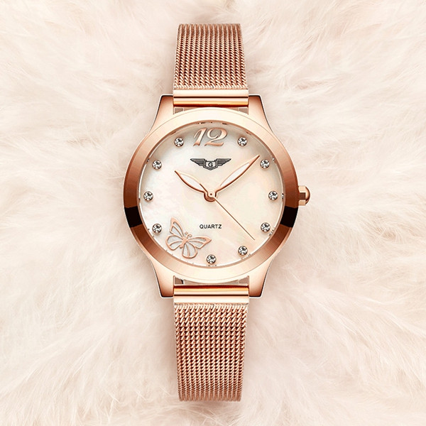 GUANQIN Luxury Brand Ladies Wristwatch Synthetic Sapphire Glass Fashion Women Dress Watch GS19042