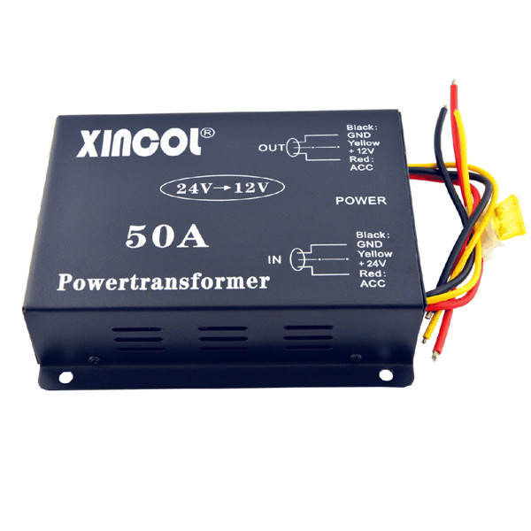 Vehicle Car DC 24V to 12V 50A Power Supply Transformer Converter with Dual Fan Regulation